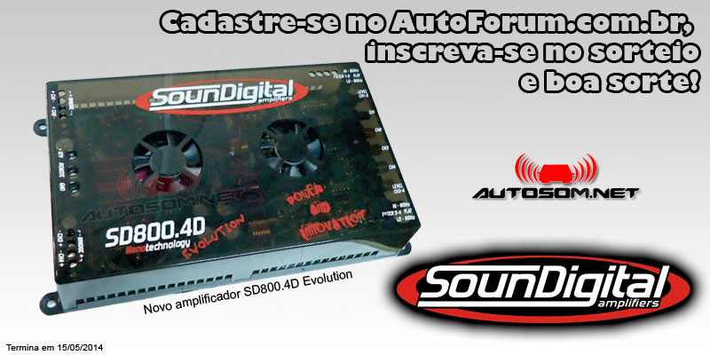 Participe do Sorteio de um Amplificador SounDigital SD800.4D Evolution